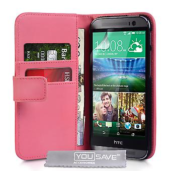 HTC One M8 Leather-Effect Wallet Case - Hot Pink