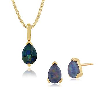 9ct Yellow Gold Triplet Opal Single Stone Pear Stud Earrings & 45cm Necklace Set