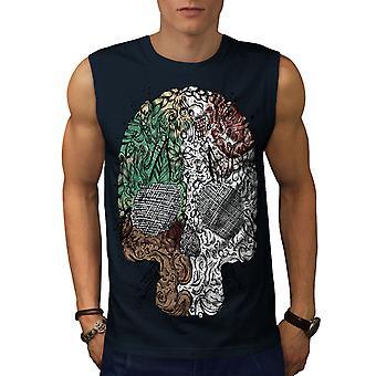 Skalle trendiga coola män NavySleeveless T-shirt | Wellcoda
