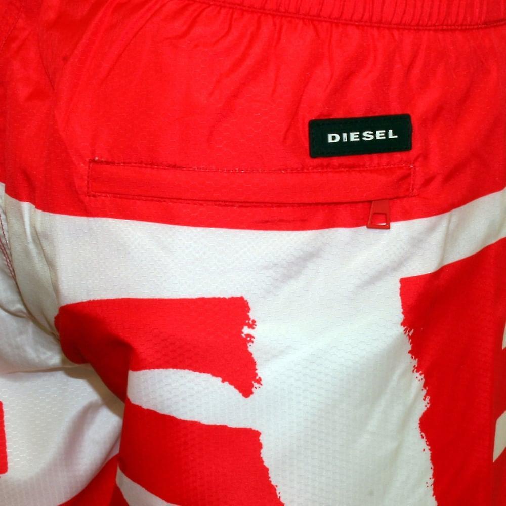 Diesel Block Logo Swim Shorts, Red