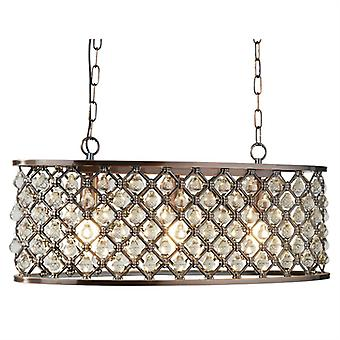 Marquise Copper Oval Pendant With Crystal Glass - Searchlight 6953-3cu