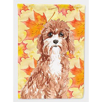 Carolines Treasures  CK1844GF Fall Leaves Cavapoo Flag Garden Size