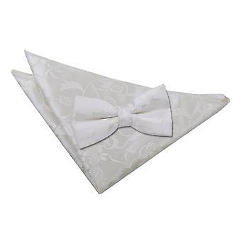 Ivory blommig fluga & Pocket Square Set