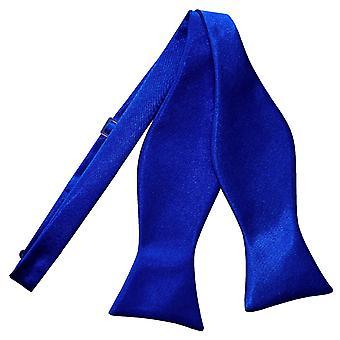 Real azul llano satén ata la corbata de lazo