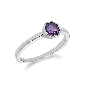 Gemondo Sterling Silver Amethyst February Single Stone Octagon Ring