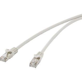 Renkforce RJ45 Networks Cable CAT 5e F/UTP 10 m Grey incl. detent