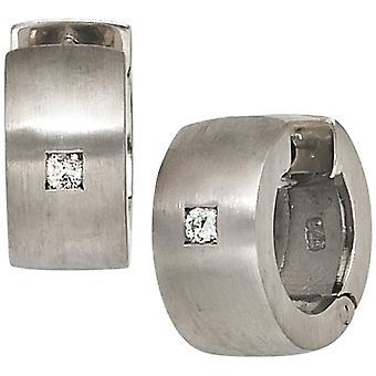Matowe srebro kolczyki hoop kolczyki 925 srebro diamenty rod galwanicznie, z 2 diamenty