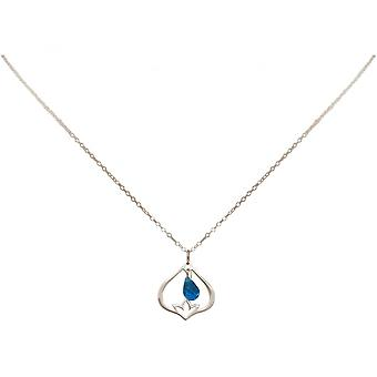 Ladies - - pendant - necklace 925 Silver - Lotus Flower - Topaz quartz - drop - blue - YOGA - 45 cm