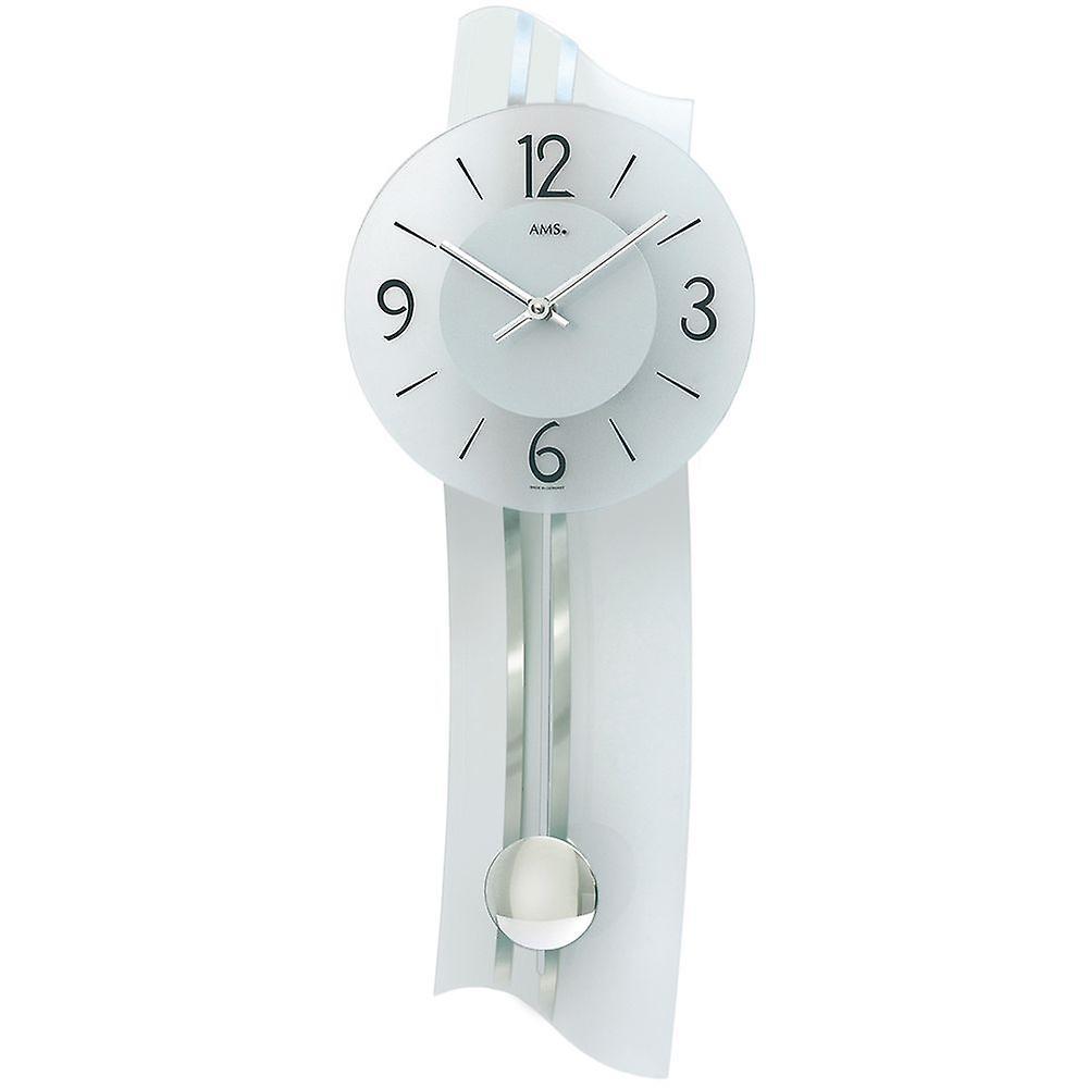 Horloge murale avec pendule verre minéral couleur blanc argent montre infirmiere