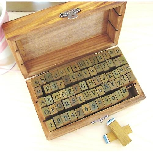 Alphabet Numbers & Symbols Wooden Rubber Stamp - 70 Pcs Set in Vintage Box