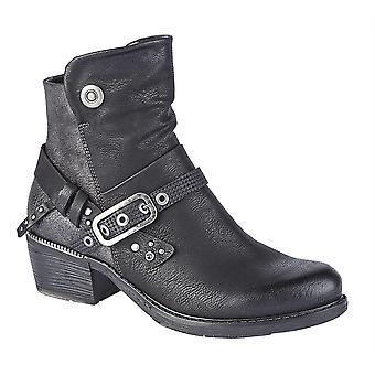 Ladies Womens Mid Block Heel Inside Zip Buckle Ankle Boots Shoes