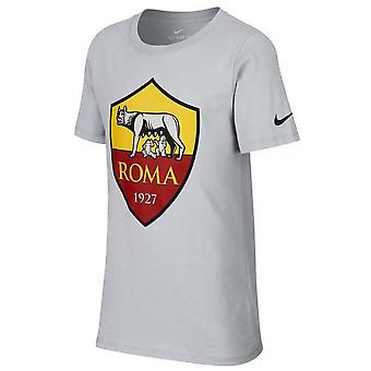 2018-2019 AS Roma Nike Evergreen Crest Tee (Wolf Grey) - Kids