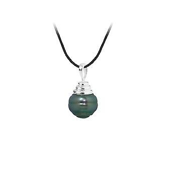 Collier Mixte en Coton noir, Pendentif Perle de Tahiti Cerclée 10 mm et Argent 925/1000