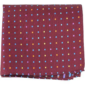 Knightsbridge Neckwear Multi Pin Dot Silk Pocket Square - Burgundy/Multi-colour