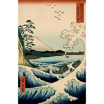 Fuji from the Gulf of Suruga, Hiroshige Ando, 40x60cm with tray