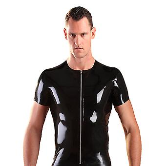 Honour Men's Sexy T Shirt Top Rubber Black Latex Round Neck Shiny Material