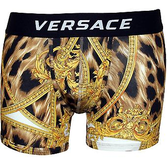 Versace Baroque Luxe Low-Rise Boxer Brief, Gold/black