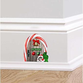 Full Colour Elf Workshop Door V3 Fairy Door Wall Sticker