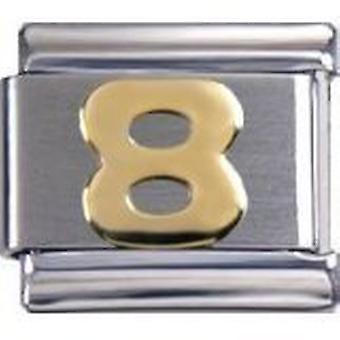 Toc Stainless Steel Number 8 Italian Charm For Italian Bracelet