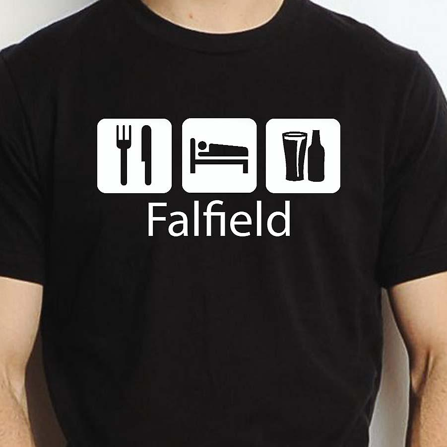 Eat Sleep Drink Falfield Black Hand Printed T shirt Falfield Town