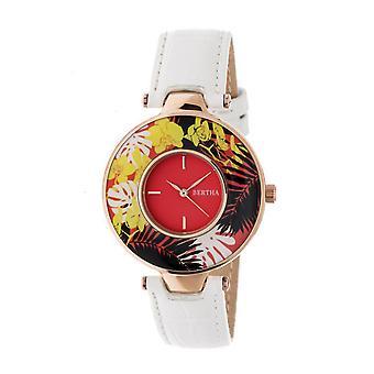 Bertha Elizabeth Unique Bezel Leather-Band Watch - Rose Gold/Coral