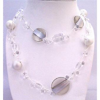 32bf241e Lang halskæde hvide perler klare akryl perler Multi formet størrelse perler