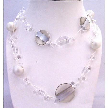 Long Necklace White Pearls Clear Acrylic Beads Multi Shaped Size Beads