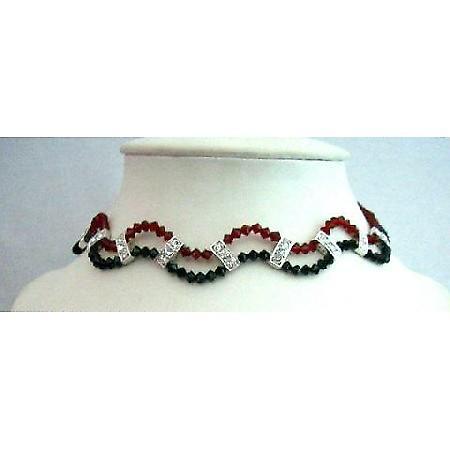 Party Formal Wear Jewelry Swarovski Jet & Siam Red Crystals Necklace