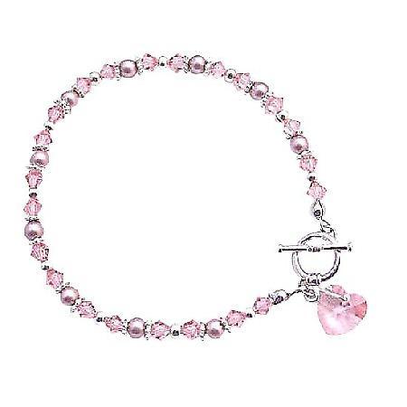 Rosaline Heart Swarovski Pink Rosaline Crystal Valentine Bracelet Gift