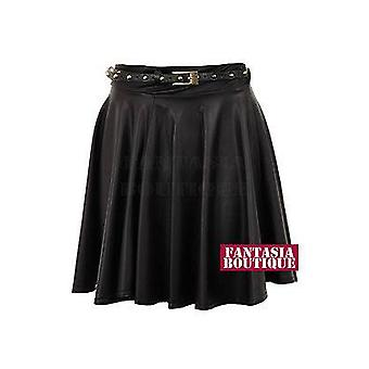 Ladies Wet Look Belted Skater Leather PVC Mini Short Women's Skirt