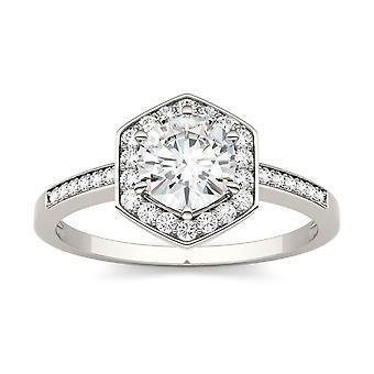 14K białe złoto Moissanite przez Charles idealna Colvard 6mm okrągłe pierścionek zaręczynowy, 0.81cttw rosy