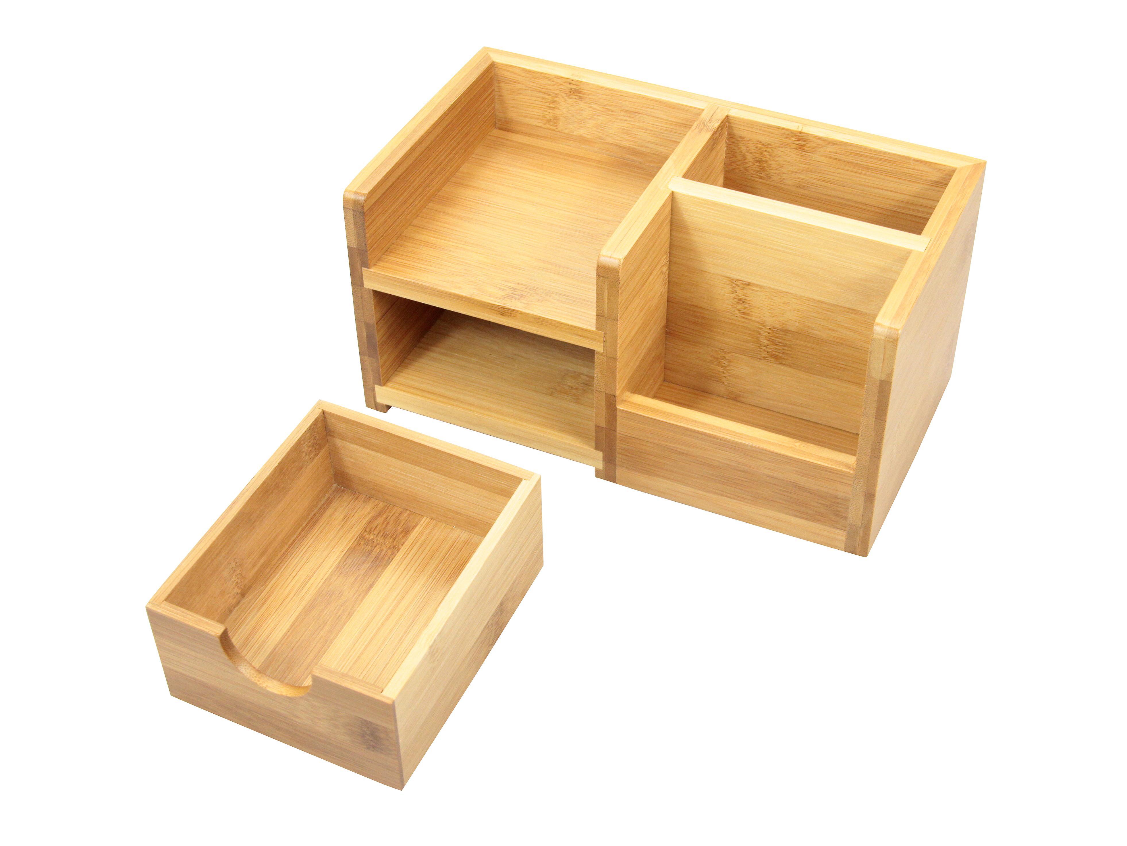 woodquail bamboo desk organiser pen holder and drawer desk tidy of 4