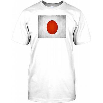 Japanese Grunge Effect Flag - Japan Kids T Shirt