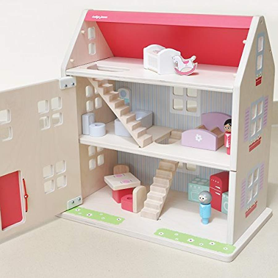 Indigo Jamm Wooden Hascombe Dolls House - 13 Piece Furniture Set And 2 Wooden People