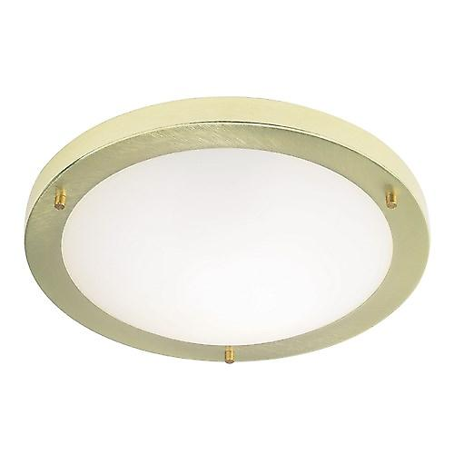 Endon EL-440-30BB Brass 30cm Bathroom Flush Ceiling Light With Opal Glass