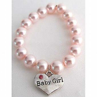 Born Baby Jewelry Baby Girl Charm Soft Pink Pearl Bracelet