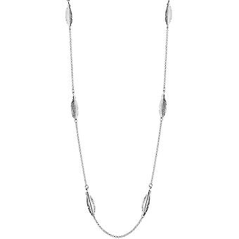 Bella Feather Chain Necklace - Silver