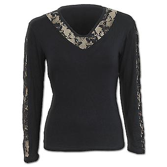 Spiral Direct Gothic GOTHIC ELEGANCE - Rose Lace V Neck Top Black|Gothic