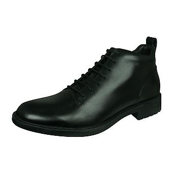 Geox U Kapsian C Mens Leather Boots / Shoes - Black