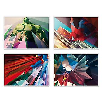4 Art-Posters 20 x 30 cm - Super Heroes Polygones - Liam Brazier