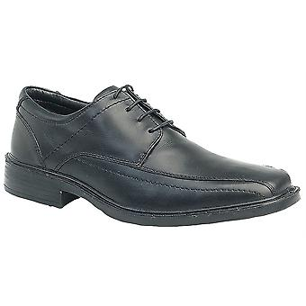 Mens Formal Shoes Leather Lightweight Lace Up Tramline Panel Tie