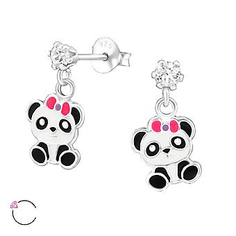 Hanging Panda - 925 Sterling Silver Crystal Ear Studs - W32851X