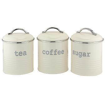 Apollo Set of 3 Round Canisters, Cream and Chrome