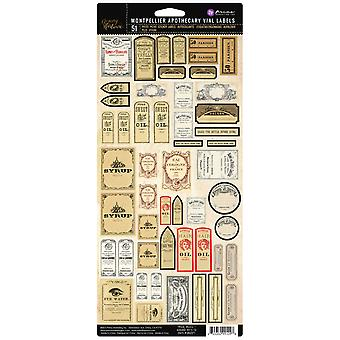 Prima Marketing Memory Hardware Apothecary Vial Labels-Montpellier 991098