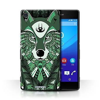 STUFF4 Case/Cover for Sony Xperia Z4v/E6508/Wolf-Green/Aztec Animal