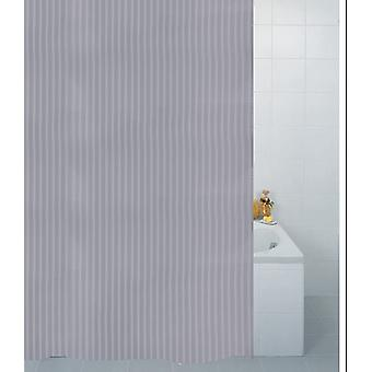 Silver Textile Stripe Polyester Shower Curtain 180 x 180cm