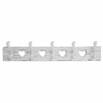 Wooden Heart Cutout Coat Hook in Distressed White Finish