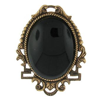Cavendish French Oval Black Bead Antique Gold Brooch
