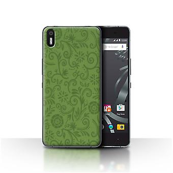STUFF4 Case/Cover for BQ Aquaris X5/Green Flower/Floral Swirl Pattern