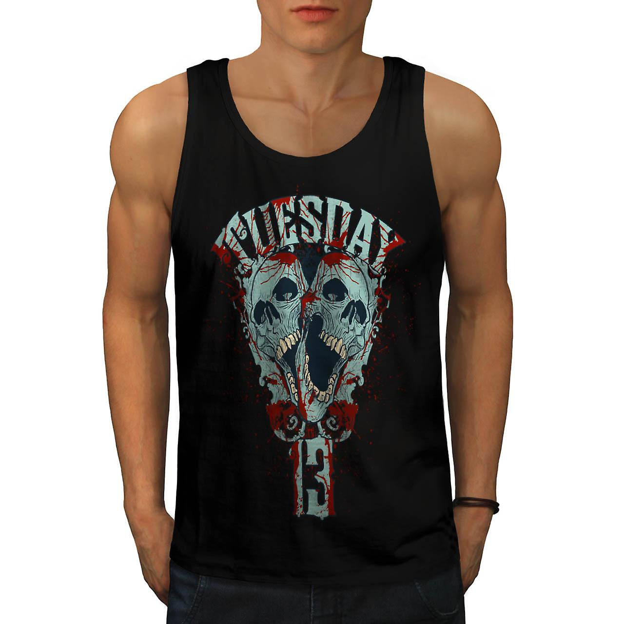 Tuesday Horror Night Warning Day Men Black Tank Top | Wellcoda